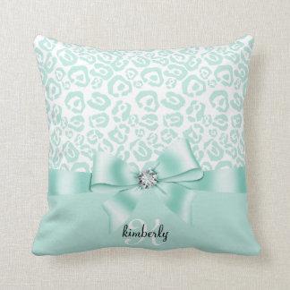 Elegant Leopard Bow & Diamond Personalized Girly Pillows