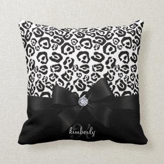 Elegant Leopard Bow & Diamond Personalized Girly Throw Pillow