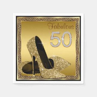 Elegant Leopard Gold High Heel 50th Birthday Party Napkin