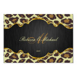 "Elegant Leopard Monogram Wedding RSVP Cards 3.5"" X 5"" Invitation Card"