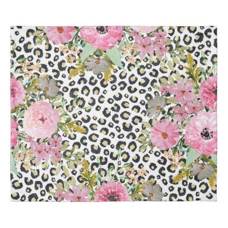 Elegant leopard print and floral design duvet cover