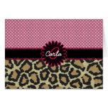 Elegant Leopard Print and Polka Dot Monogram Stationery Note Card