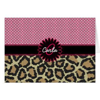 Elegant Leopard Print and Polka Dot Monogram Cards