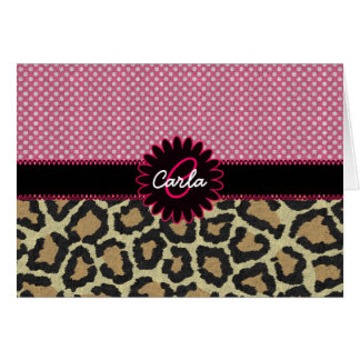 Elegant Leopard Print and Polka Dot Monogram Card