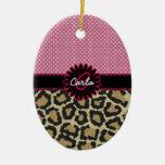 Elegant Leopard Print and Polka Dot Monogram Ceramic Ornament