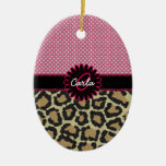 Elegant Leopard Print and Polka Dot Monogram Double-Sided Oval Ceramic Christmas Ornament