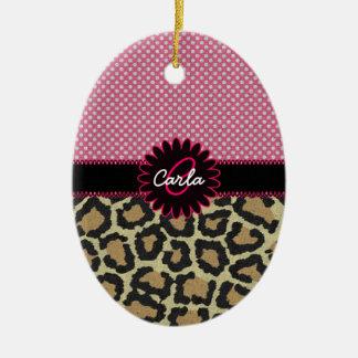 Elegant Leopard Print and Polka Dot Monogram Double-Sided Oval Ceramic Christmas Ornament