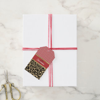 Elegant Leopard Print and Polka Dot Monogram Gift Tags