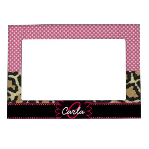 Elegant Leopard Print And Polka Dot Monogram Magnetic Photo Frame