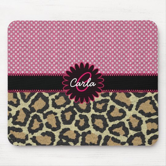 Elegant Leopard Print and Polka Dot Monogram Mouse Pad