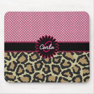 Elegant Leopard Print and Polka Dot Monogram Mouse Pad