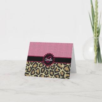 Elegant Leopard Print and Polka Dot Monogram Note Card