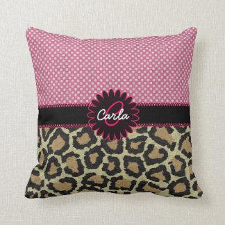 Elegant Leopard Print and Polka Dot Monogram Throw Pillow