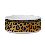 Elegant Leopard Print Cat Bowls