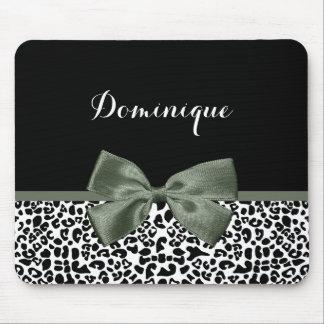 Elegant Leopard Print Dark Green Ribbon With Name Mouse Pad