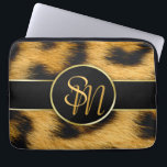 "Elegant Leopard Print Monogram - Laptop Sleeve<br><div class=""desc"">Precious,  elegant animal fur print featuring leopard fur pattern with gold accent and matching modern monogram script.</div>"