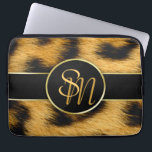 "Elegant Leopard Print Monogram - Laptop Sleeve<br><div class=""desc"">Precious,  elegant animal fur print featuring leopard fur pattern with gold accent and matching modern monogram script.</div>"