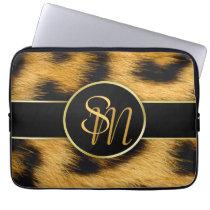 Elegant Leopard Print Monogram - Laptop Sleeve