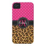 Elegant Leopard Print Pink Dots Girly Chic Custom iPhone 4 Case-Mate Case