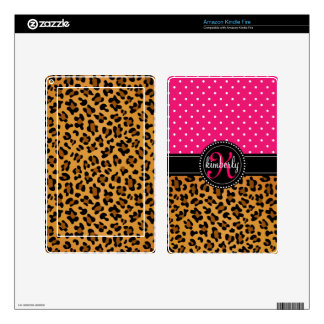 Elegant Leopard Print Pink Dots Girly Chic Custom Decals For Kindle Fire