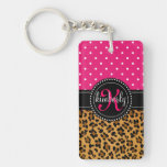 Elegant Leopard Print Pink Dots Girly Chic Custom Single-Sided Rectangular Acrylic Keychain
