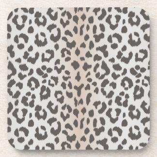 Elegant  leopard print with monogram drink coaster