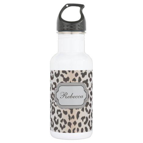 Elegant  leopard print with monogram stainless steel water bottle