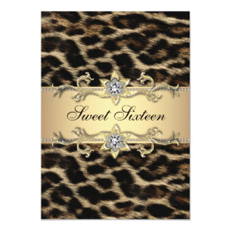 Elegant Leopard Sweet Sixteen Birthday Party Card