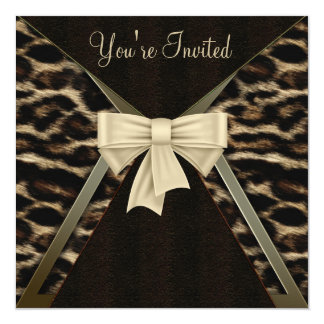 Elegant Leopard Womans Birthday Party 5.25x5.25 Square Paper Invitation Card