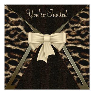 Elegant Leopard Womans Birthday Party Invite