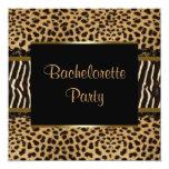 Elegant Leopard Zebra Bachelorette Party 5.25x5.25 Square Paper Invitation Card