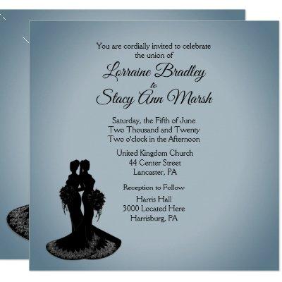 Elegant Lesbian Wedding Invitation