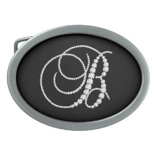Elegant Letter B Sparkling Diamonds-Monogram Oval Belt Buckle