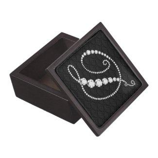 Elegant Letter D Sparkling Diamonds-Monogram Premium Trinket Boxes