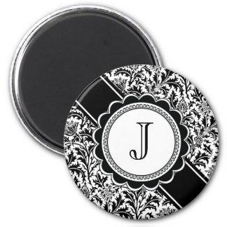 Elegant Letter J Monogram Black and White Magnet