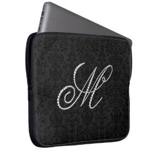 Elegant Letter M Sparkling Diamonds-Monogram Computer Sleeves