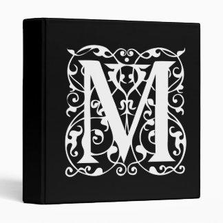 Elegant Letter M White on Black Monogram Binder
