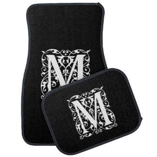 Elegant Letter M White on Black Monogram Car Floor Mat