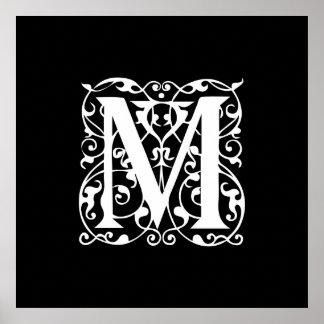 Elegant Letter M White on Black Monogram Poster