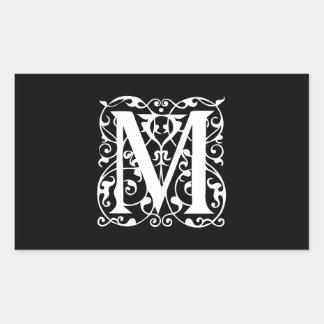 Elegant Letter M White on Black Monogram Rectangular Sticker