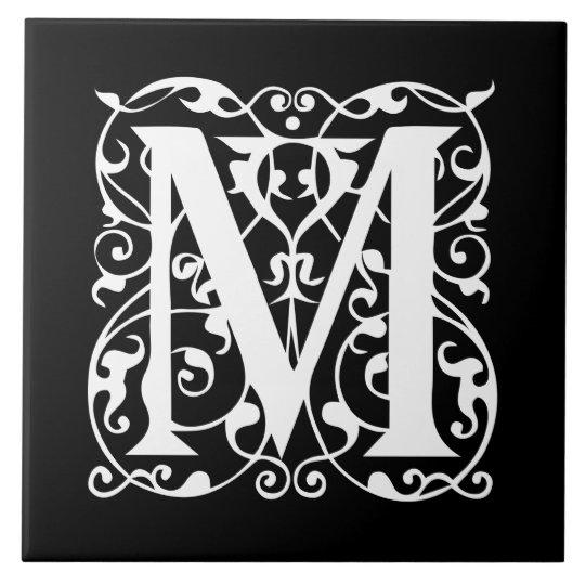 Elegant Letter M White On Black Monogram Tile