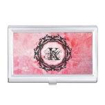 Elegant Letter Pink Floral Rose Pattern Business Card Case