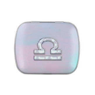 Elegant Libra Zodiac Sign Mother of Pearl Style Jelly Belly Candy Tin
