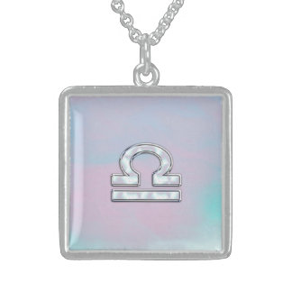 Elegant Libra Zodiac Sign Mother of Pearl Style Sterling Silver Necklace