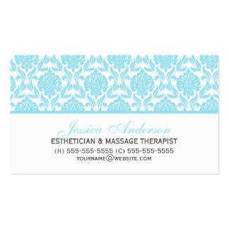 Elegant Light Blue Damask Pattern Business Card Templates