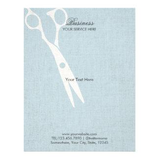 Elegant Light Blue Faux Linen Hair Salon Brochures