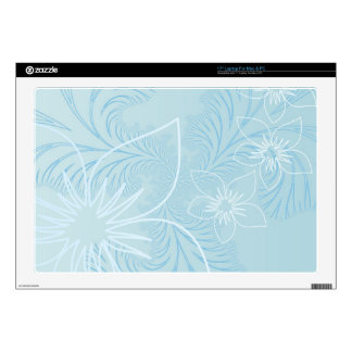 "Elegant light Blue Flower Design 17"" Laptop Skins"