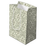 Elegant Light Blue Geometric Scroll Pattern Medium Gift Bag