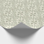 Elegant Light Blue Geometric Scroll Pattern Wrapping Paper