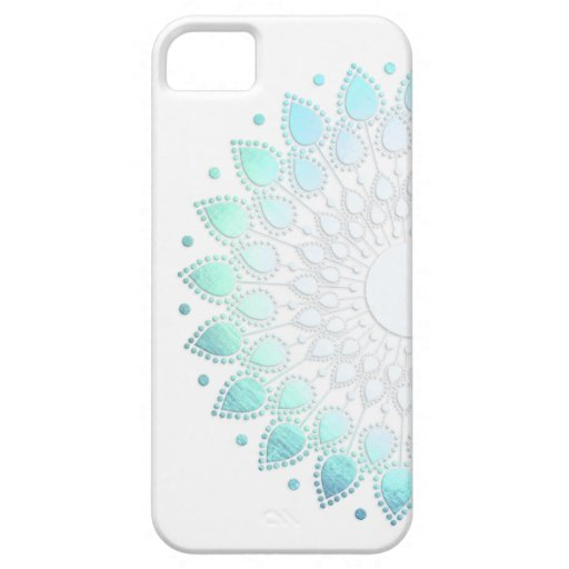 Elegant Light Blue Green Flower Motif iPhone 5 Cases